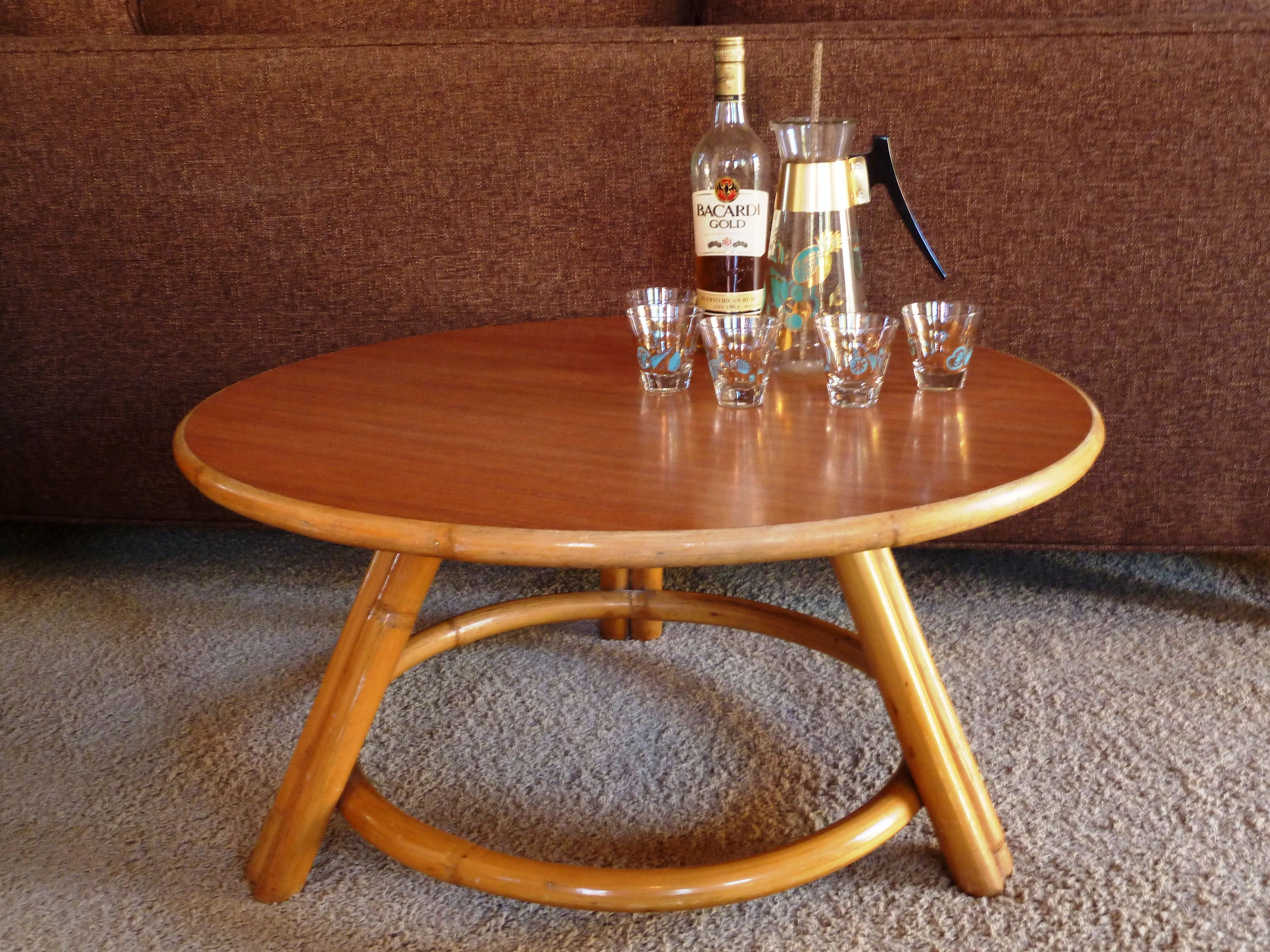 Vintage Rattan Coffee Table Designed By Paul Frankl For