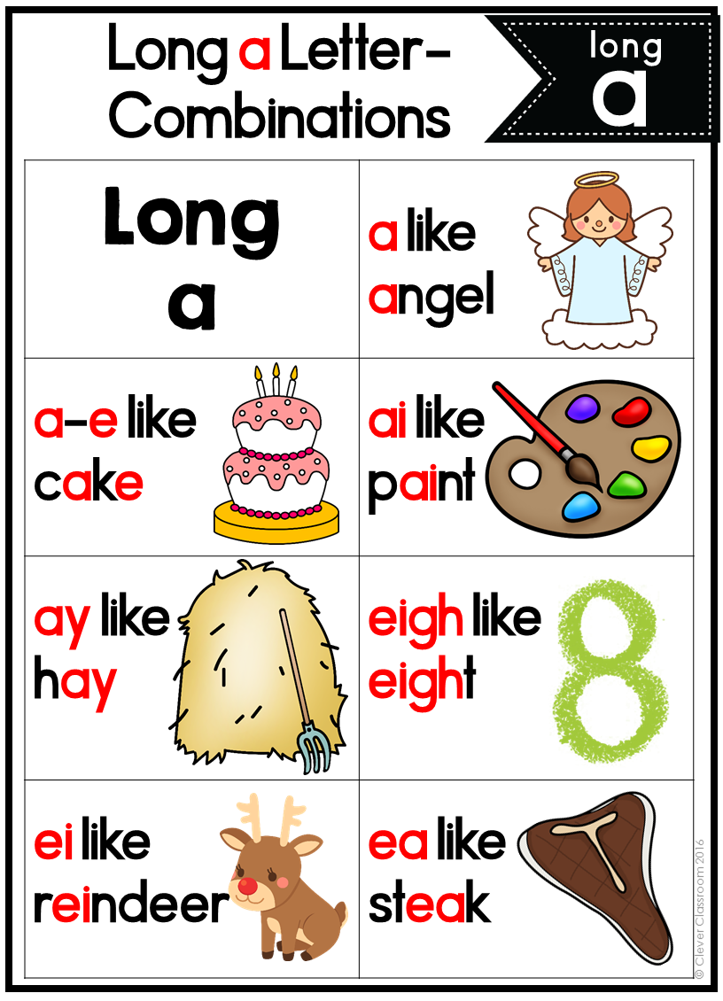 Long A Long Vowels Posters And Word Work Mats Phonics Posters Clever Classroom Jolly Phonics [ 1130 x 816 Pixel ]