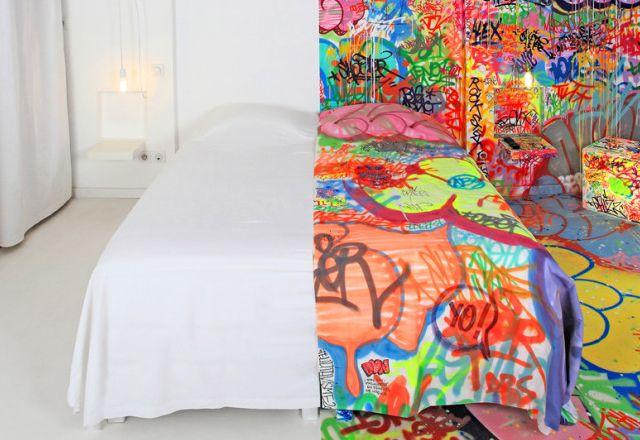 INTERIOR DESIGN / Graffitied 'PANIC ROOM' at Hotel Au Vieux Panier by Tilt greenmindtraining.com