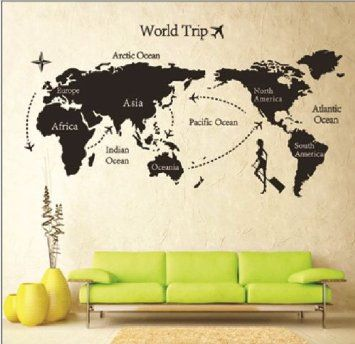 Amazon global world map atlas vinyl wall art decal sticker amazon global world map atlas vinyl wall art decal sticker tm7225 gumiabroncs Gallery