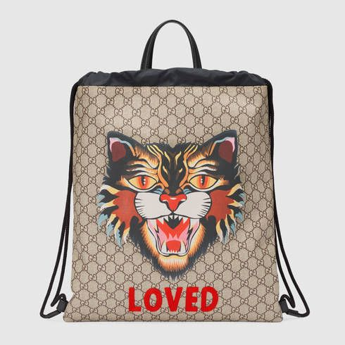 0a61d639fd1 GUCCI Angry Cat Print Soft Gg Supreme Drawstring Backpack.  gucci  bags   leather  lining  nylon  backpacks