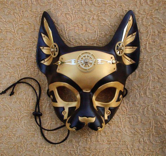 Industrial Bast V10 ... original mixed media handmade steampunk egyptian cat mask. $180.00, via Etsy.