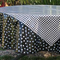Black Gingham 70 Inch Round Oilcloth Tablecloth
