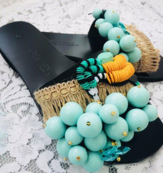 "Handmade Leather Sandals Boho, Greek Leather Sandals, Boho Sliders, Slide Sandals, ""Blue Hawaiian Tropical'' 2"