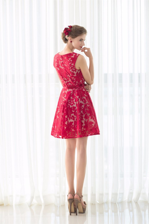 Vintage red lace cocktail dress cap sleeve short prom dresses