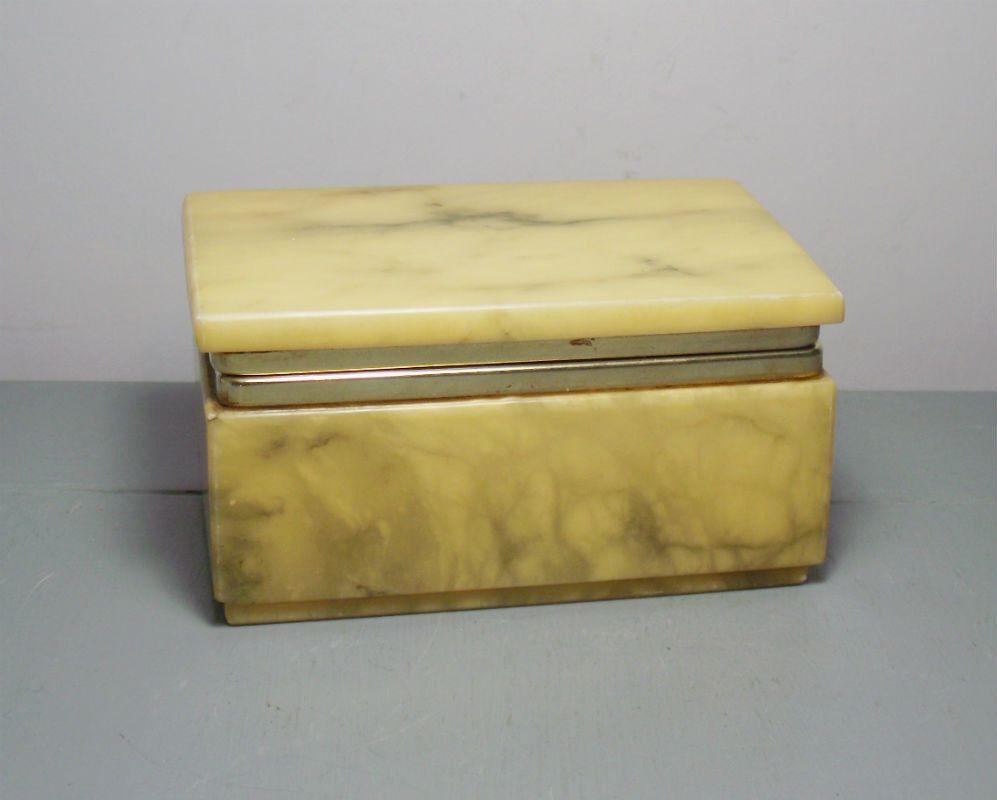 Vintage Italian Alabaster Trinket Box Alabaster And Brass Box