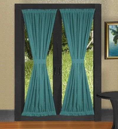 Dark Turquoise French Door Curtains