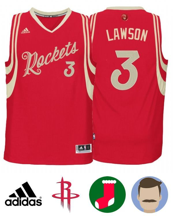 4ef6e18fd04 Dress in this Men s Adidas Rockets  3 Ty Lawson 2015 Christmas Day Red  Jersey ...