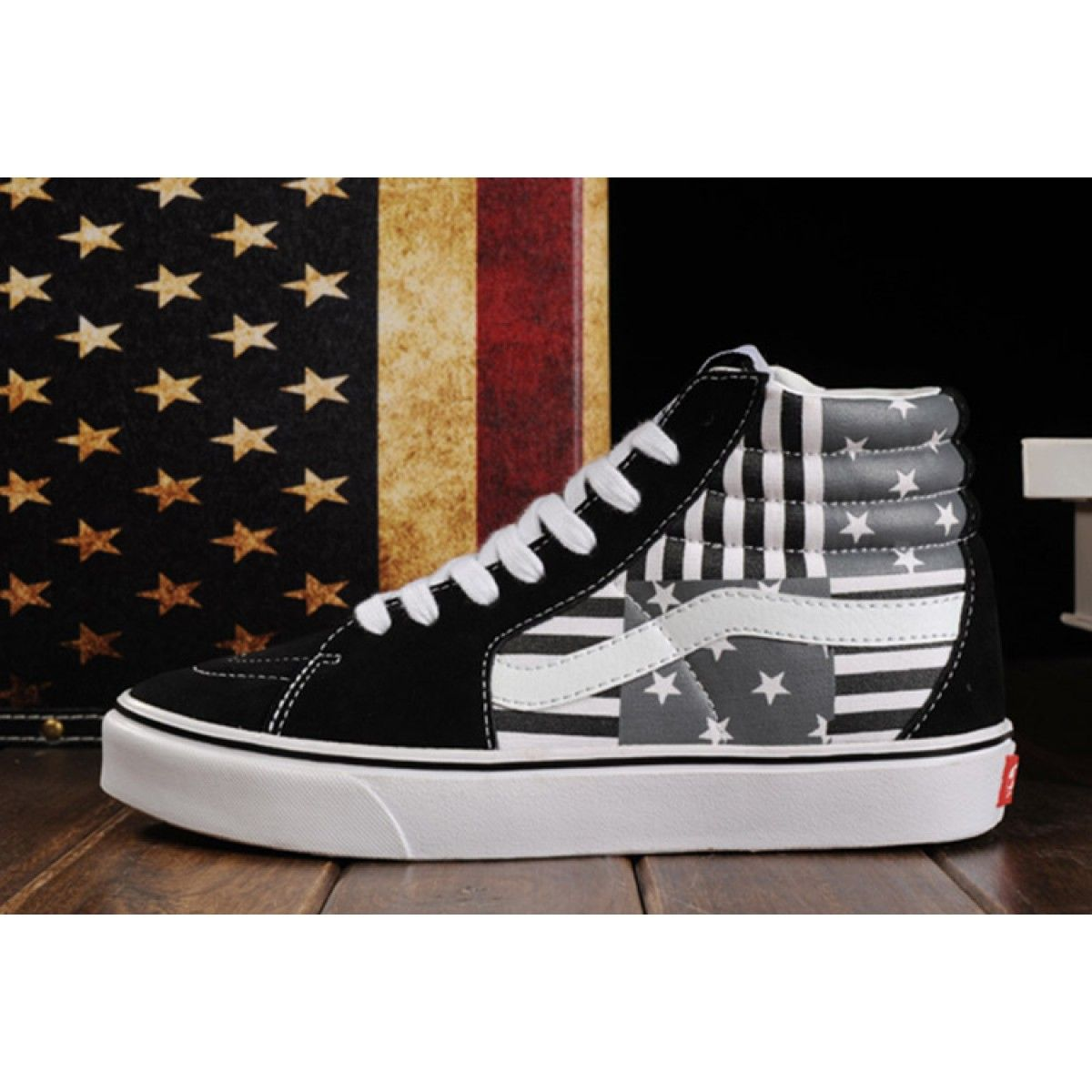 c69001583c17 Limited Edition Black Vans American FLag Beckham SK8 Hi Skateboard Shoes   Vans