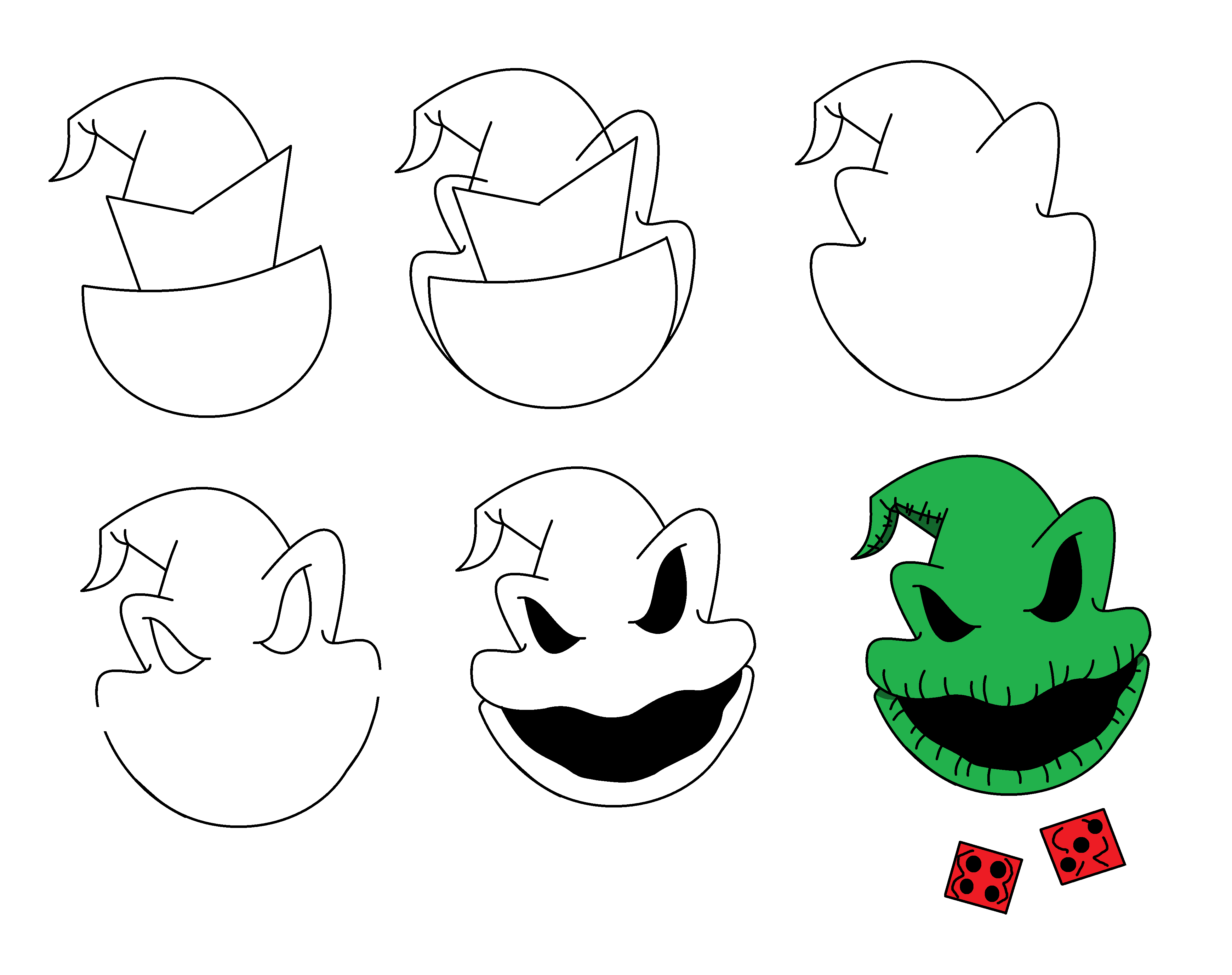 Stepbystep to draw Oogie Boogie from Nightmare Befo