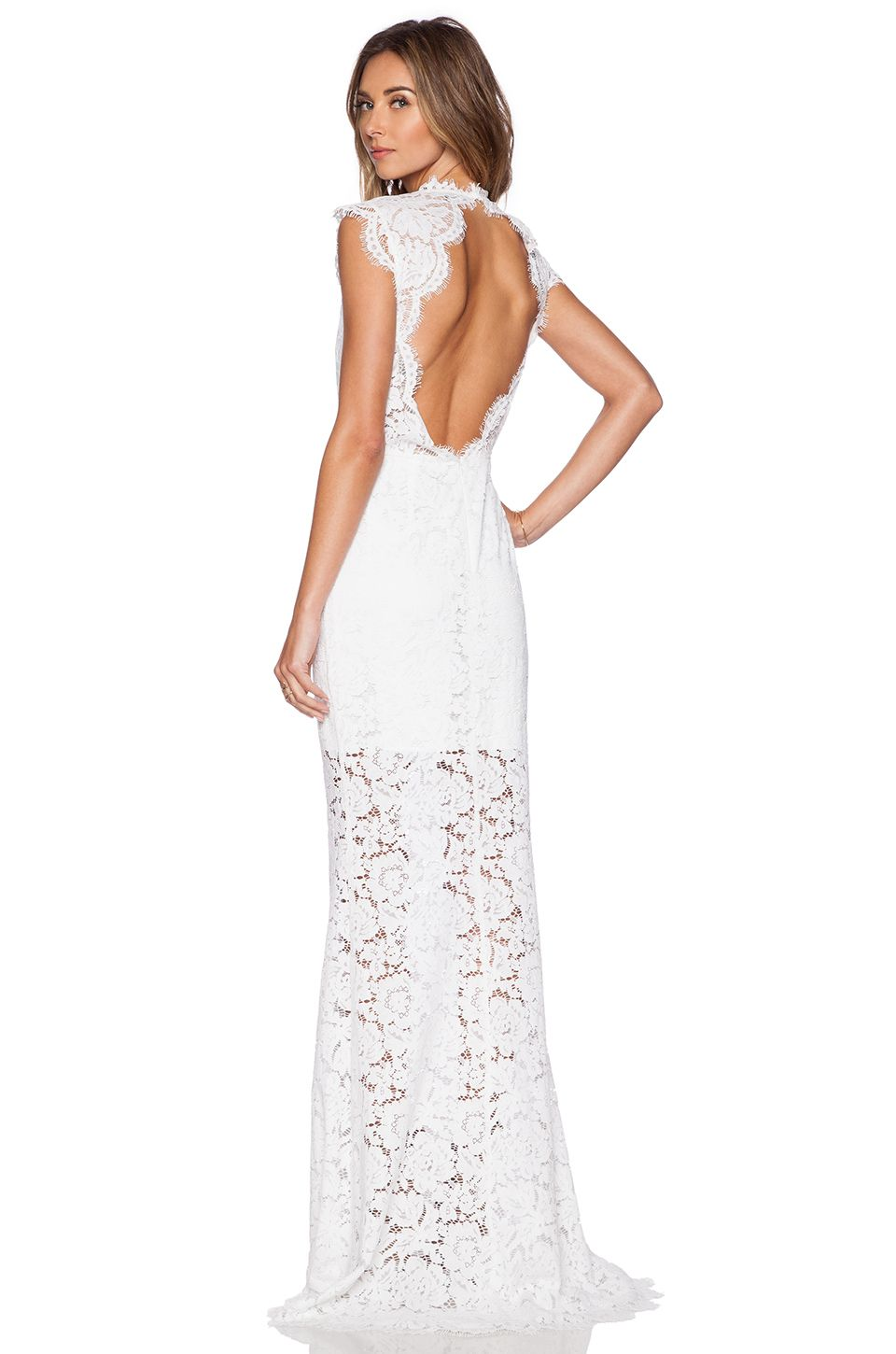 RACHEL ZOE Estelle Cutout Back Maxi Dress in Pure White | BACKLESS ...