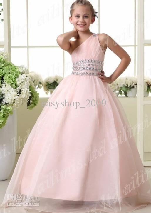 Wholesale Stylish Pink One-Shoulder Style Girl Kids Pageant ...