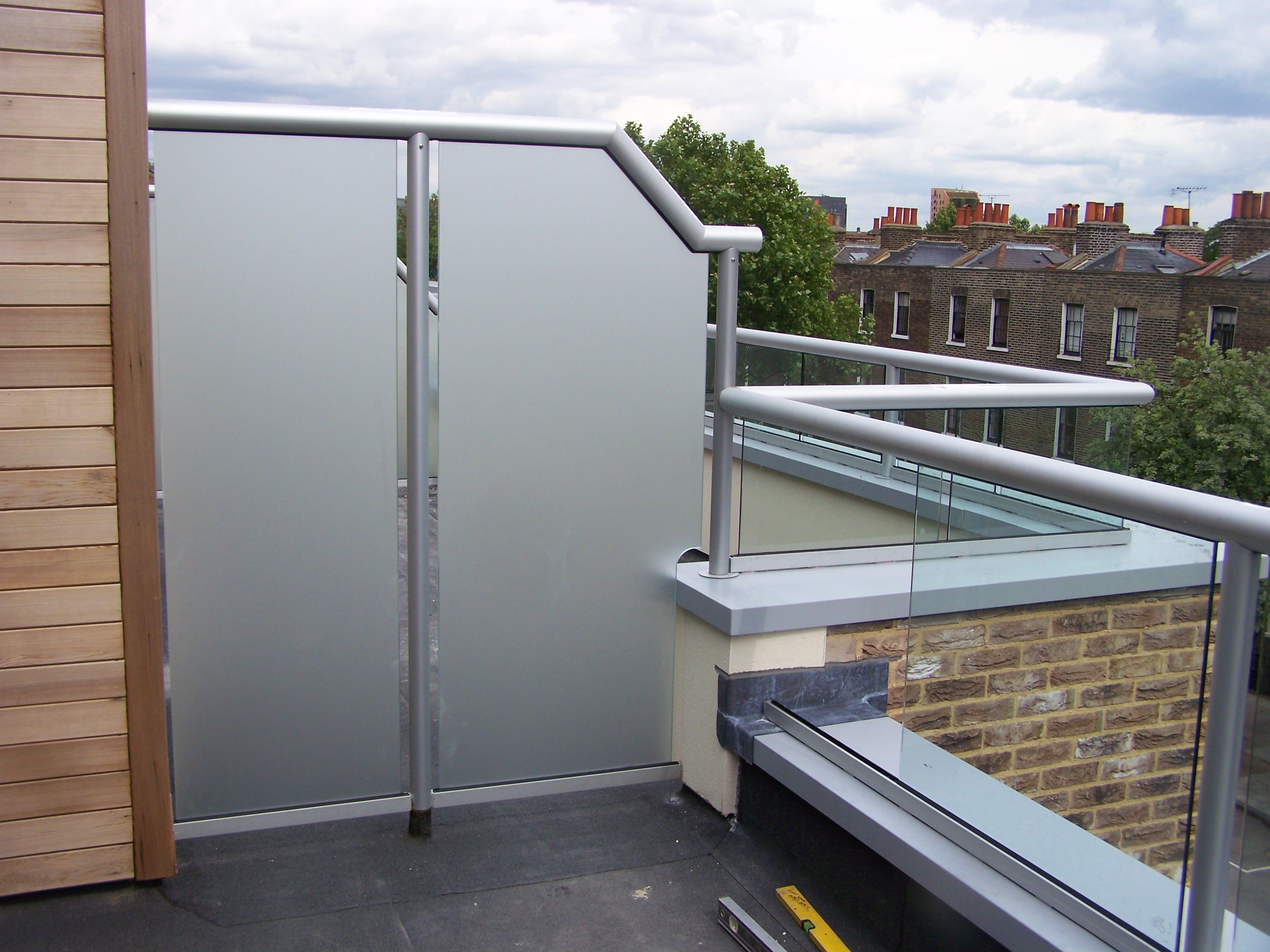 Glass Balcony with Privacy Screen Privacy screen outdoor