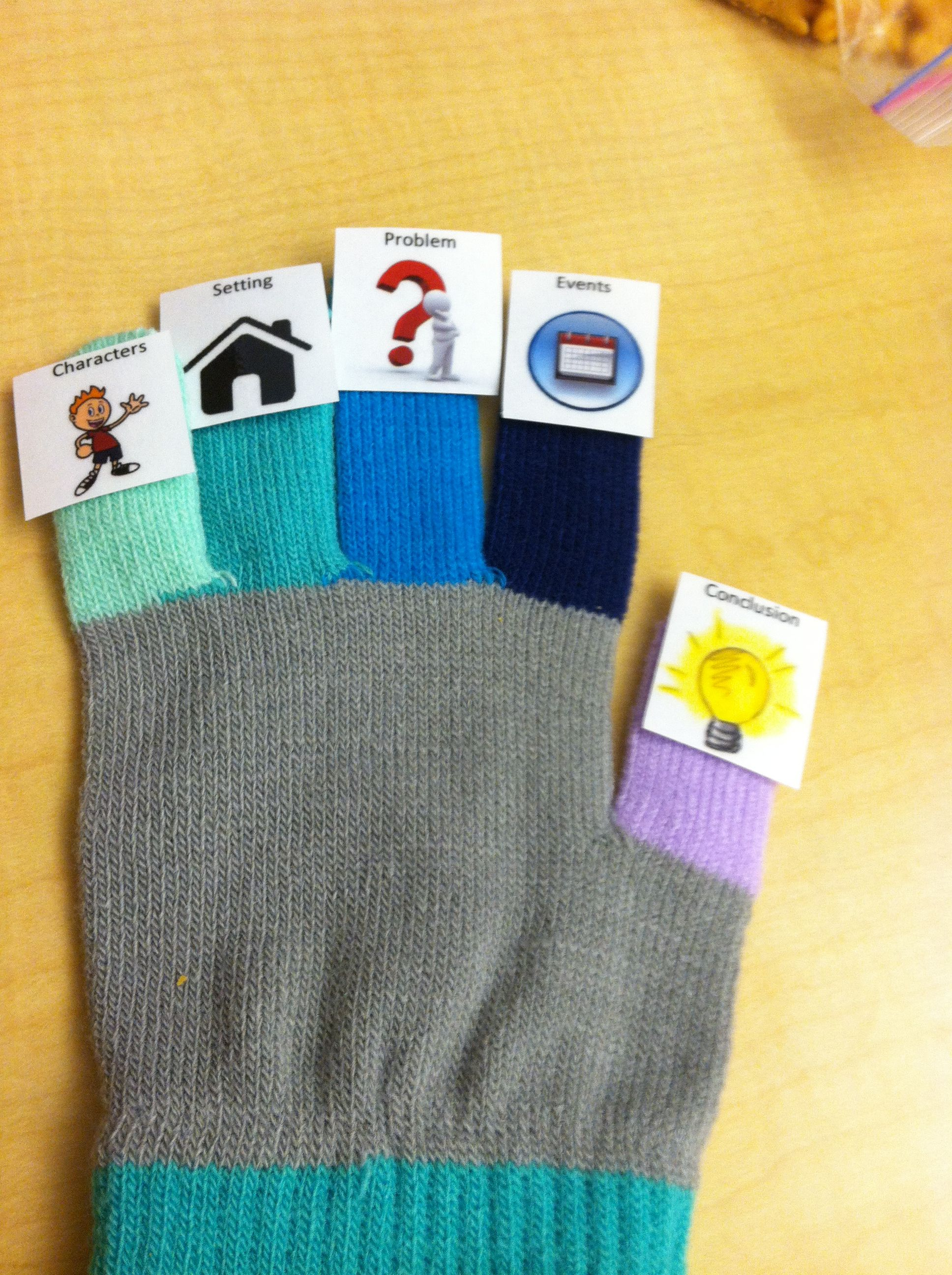 5 Finger Story Retell Gloves W Different Color Fingers