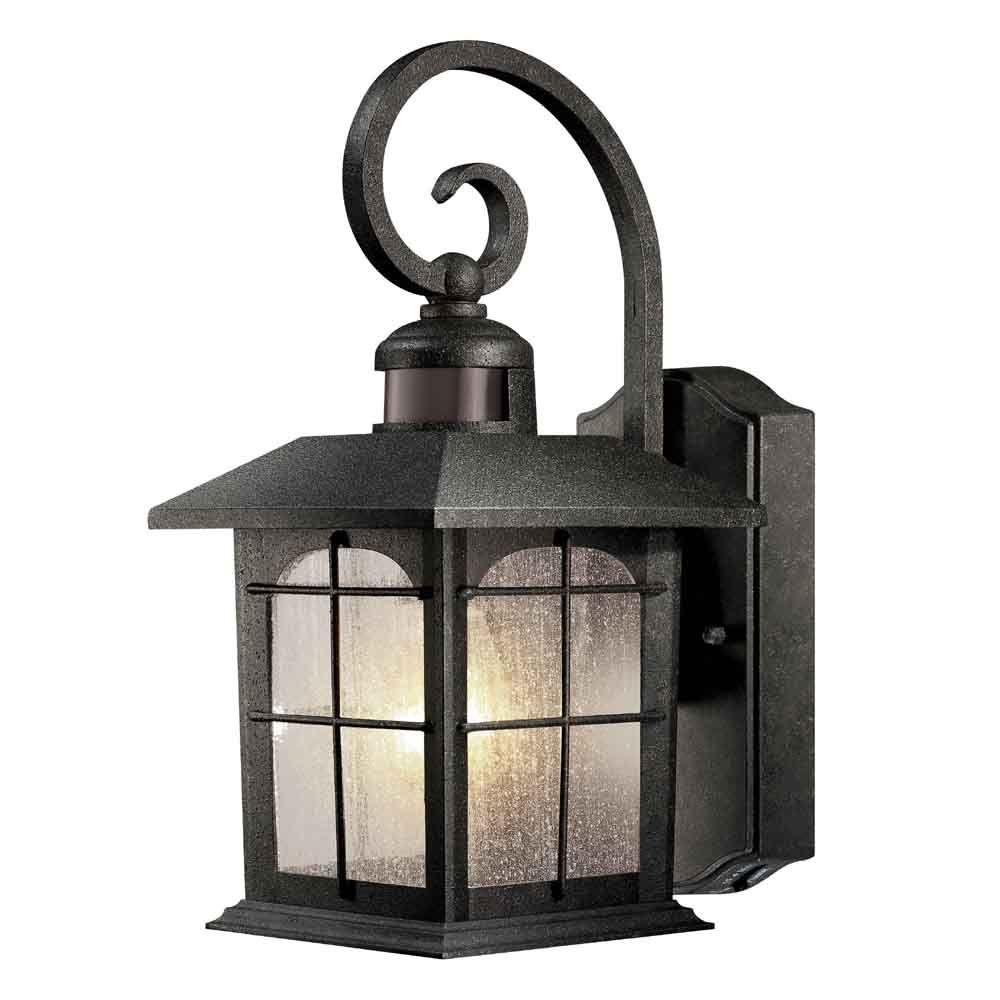Home Decorators Collection Brimfield 220 1 Light Aged Iron Motion Sensing Outdoor Wall Lantern Sconce Hb7251ma 292 The Home Depot Wall Mount Lantern Wall Lantern Outdoor Wall Lantern