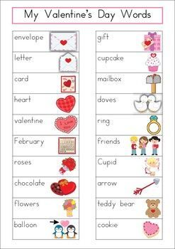 Valentines Day Word Wall  Word work centers Writing words and