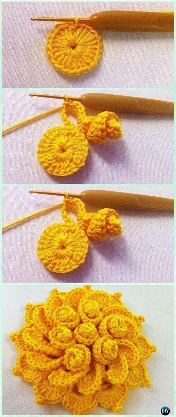 Crochet Mays Flower Free Pattern Video Crochet 3d Flower Motif