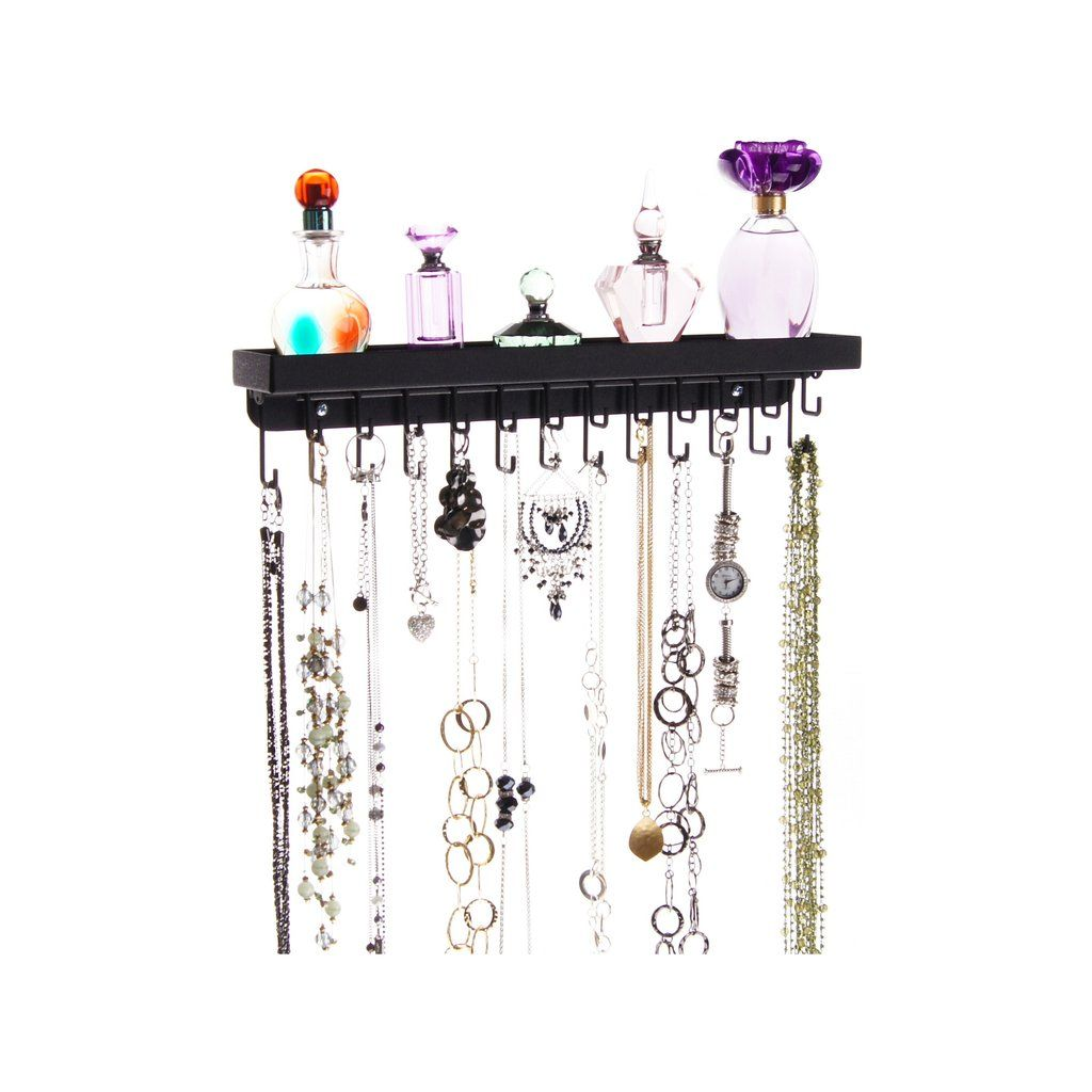 The Schelon Necklace Rack is a hanging wall mount metal necklace