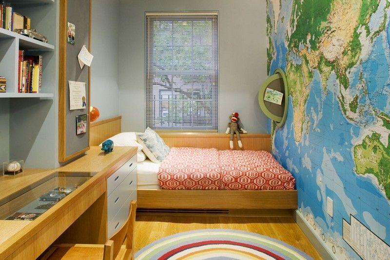 Jugendzimmer Ideen mit geographischen Karte Einrichtungsideen II