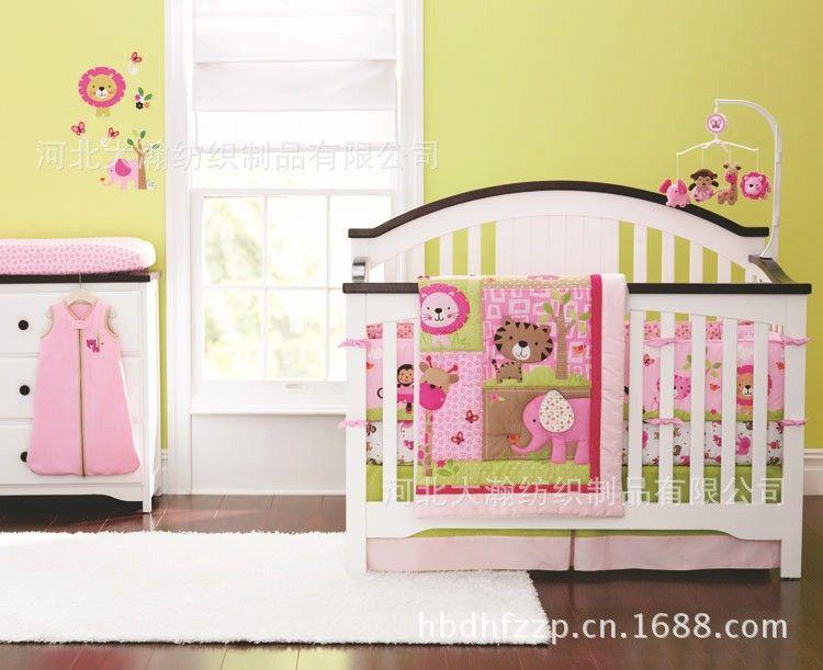 Promotion! 4PCS baby cotton crib bedding set quilt bumper bedsheet bedskrit blanket (bumper+duvet+bed cover+bed skirt)