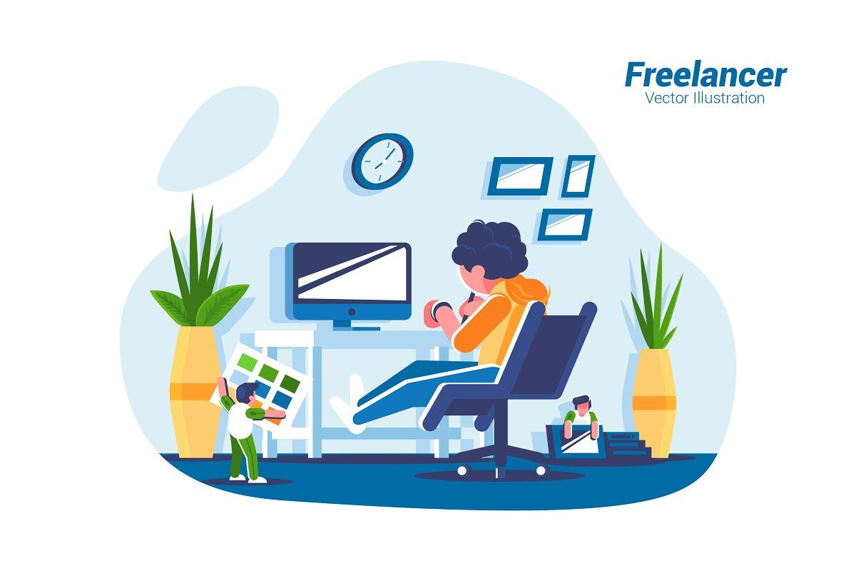 Freelancer Vector Illustration Vector Illustration Freelancer Website Illustration