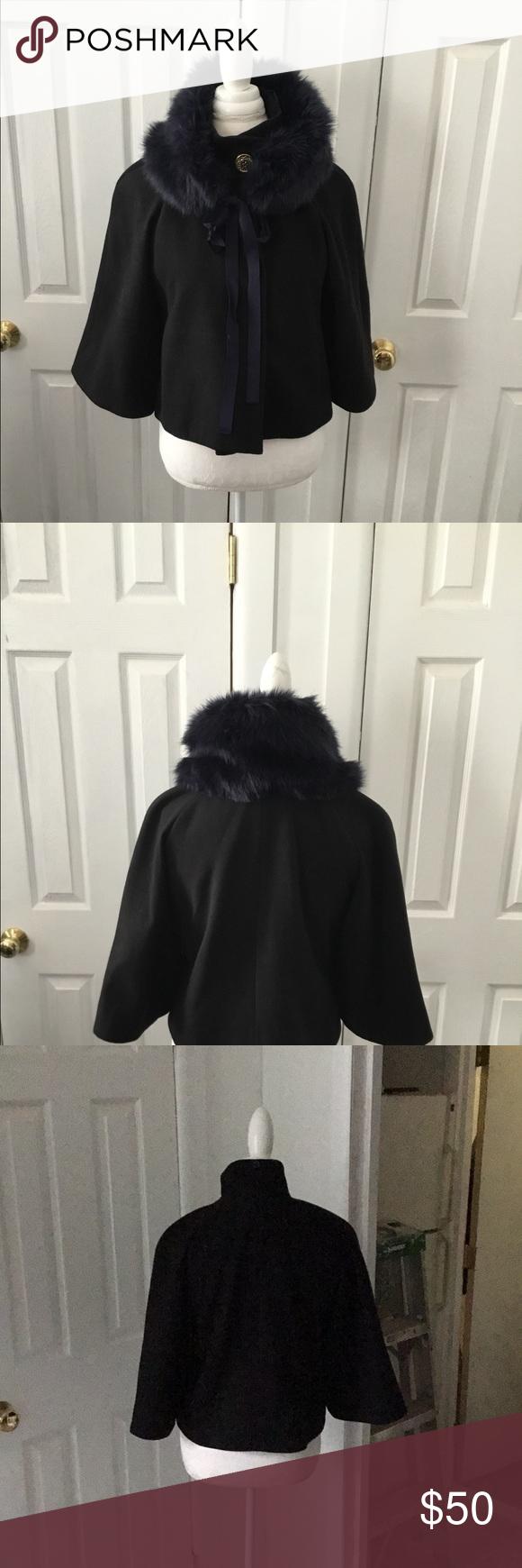 Black Cape Jacket Cape Jacket Black Cape Blue Fur