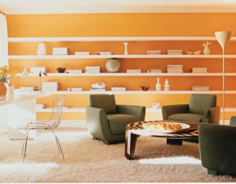 This Tangerine Shade Serves As The Perfect Peppy Backdrop For Magazines And Vases