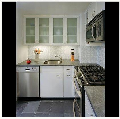 diseo de cocina pequea con iluminacin artificial