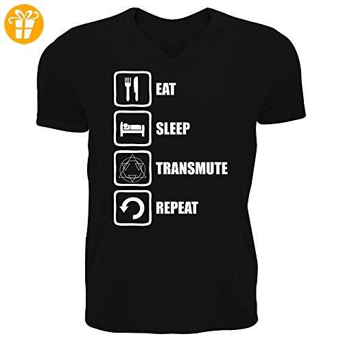Fullmetal Alchemist Inspired Eat Sleep Transmute Repeat Men's V-Neck T-shirt  XX-