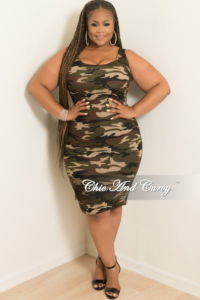 4954a3574172 Plus Size Sleeveless BodyCon Dress in Camouflage Print – Chic And Curvy