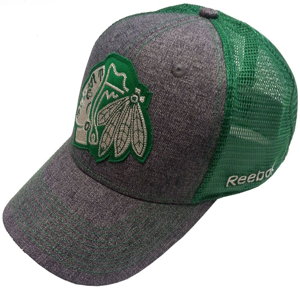 198c50a4f4a76 Chicago Blackhawks St. Patrick s Day Flex Fit Hat by Reebok