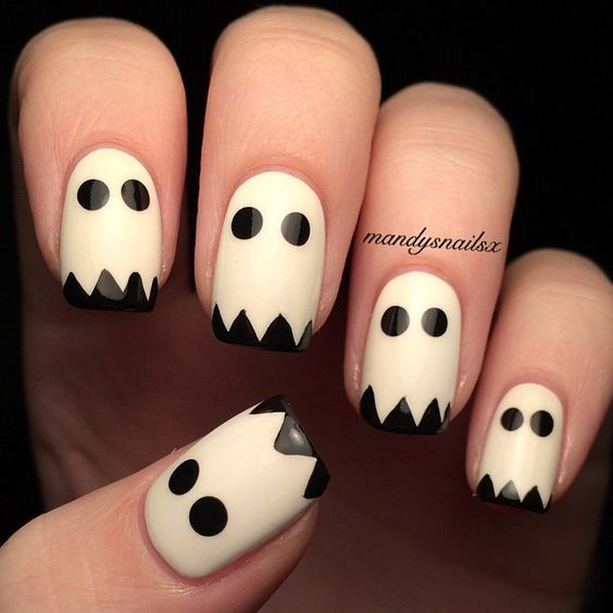 Are you looking for easy Halloween nail art designs for October for  Halloween party? See our collection full of easy Halloween nail art designs  ideas and ... - 57 Easy Halloween Nail Art With Ghost Pumpkin Candy Corn Disney