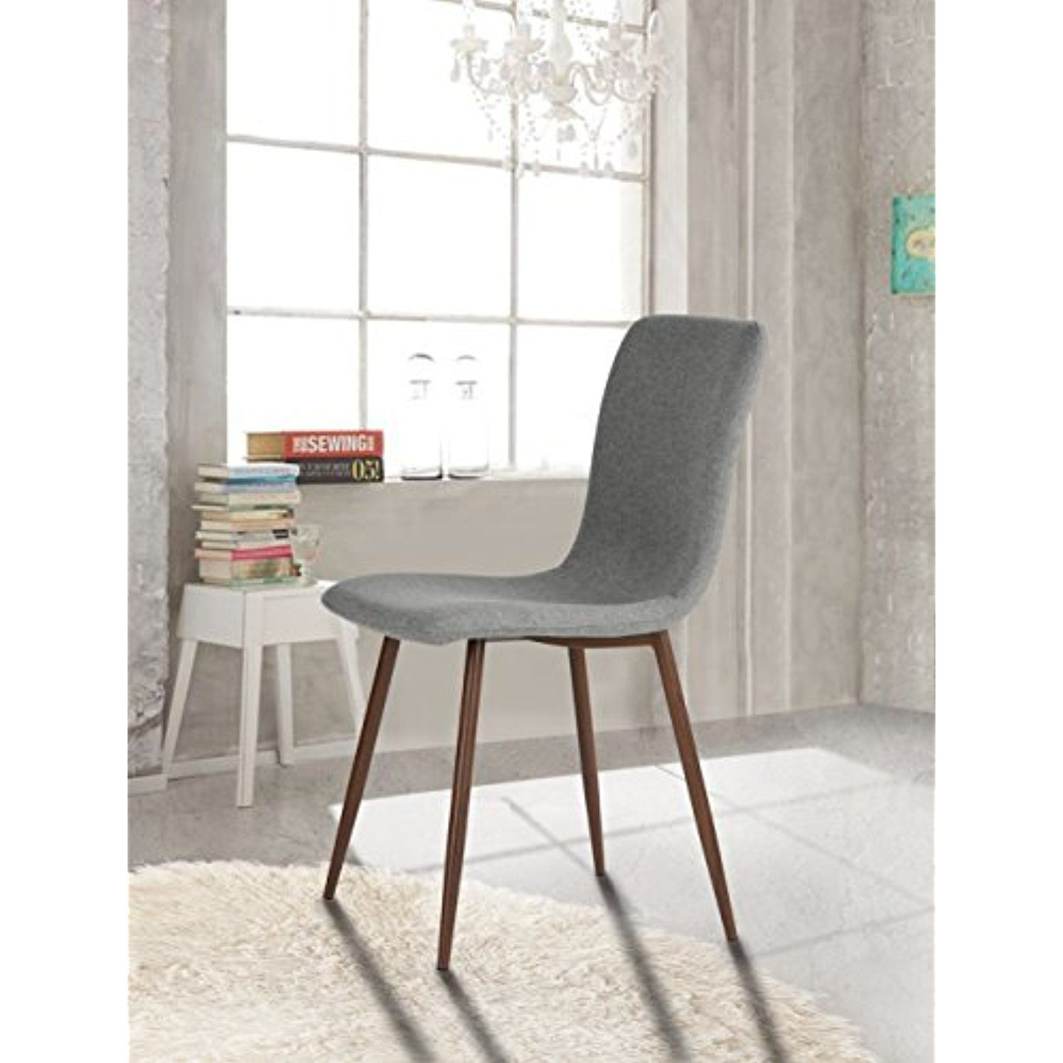 Set of 4 Eames Style Side Dining Chair Brown Metal Legs