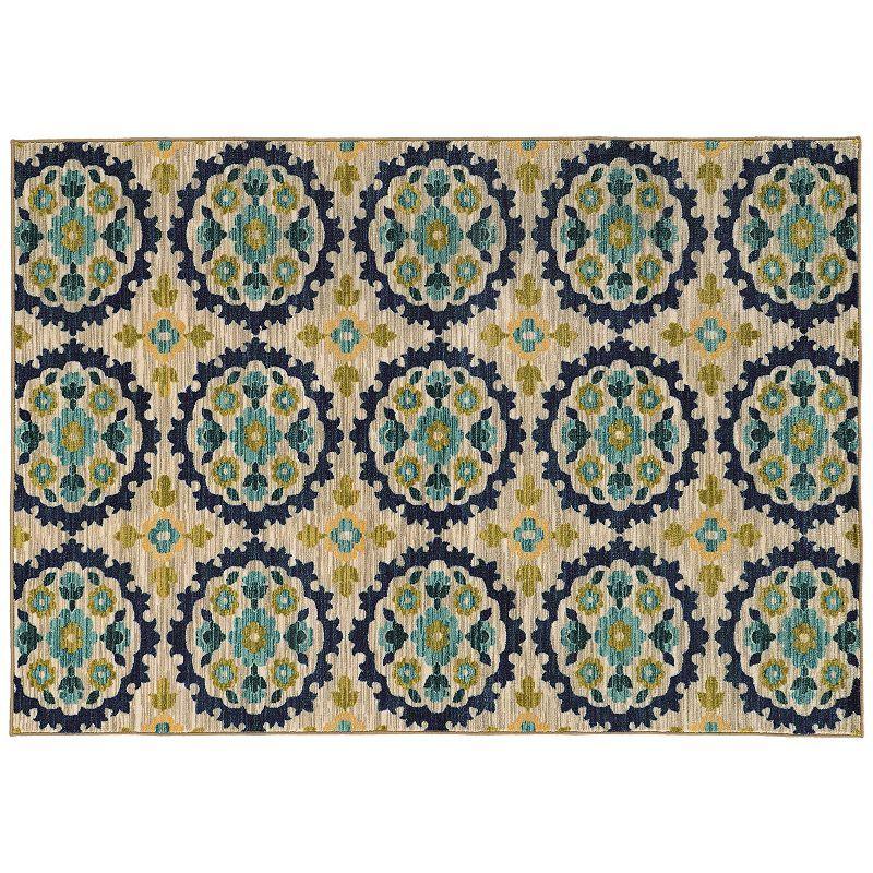 StyleHaven Rowe Floral Panel Rug, Beig/Green (Beig/Khaki)