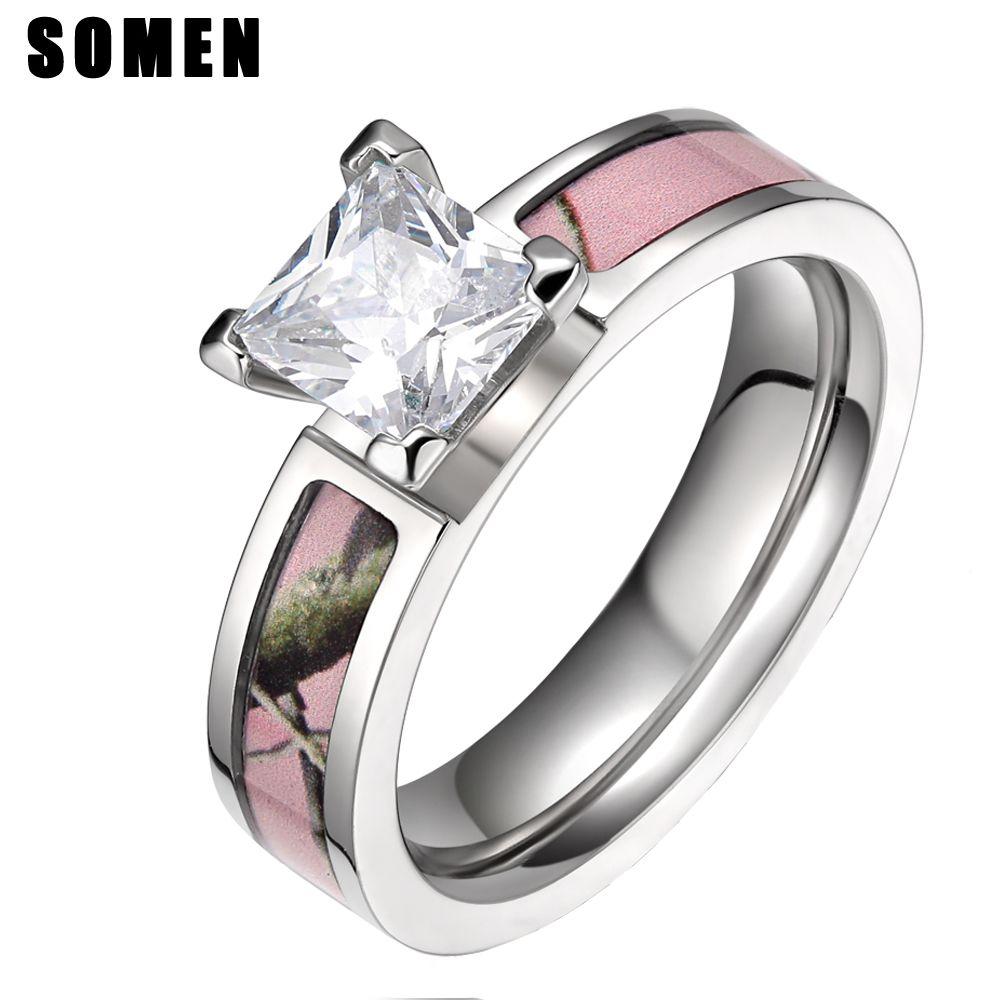 Nuevo Anillo De La Manera Para Las Anium 5mm Rosa Claro árbol Camo Wedding Band Compromiso Anillos Anéis Feminino Brillo Diamante