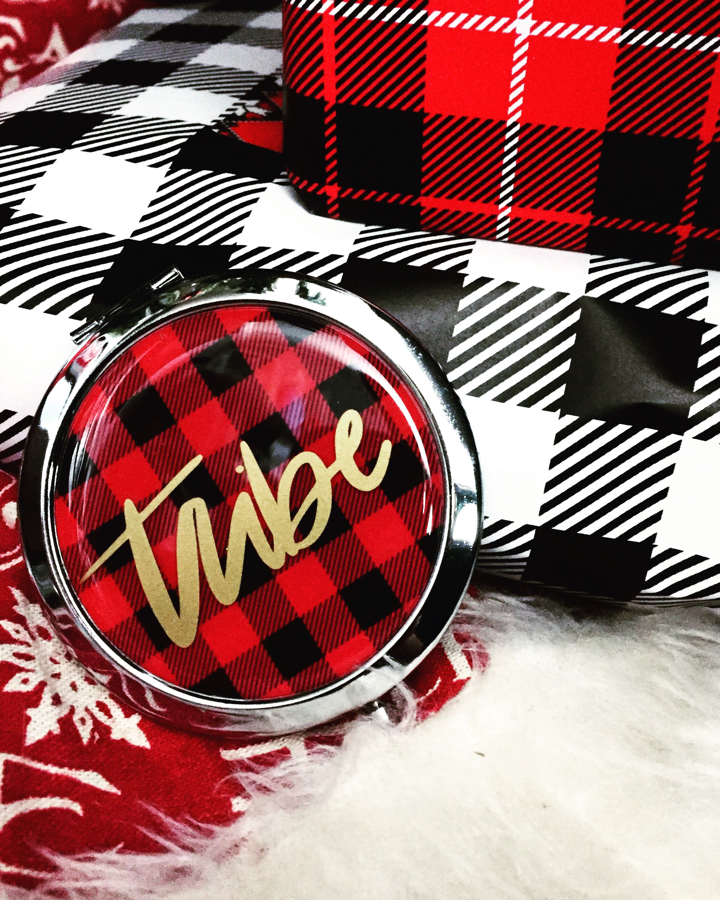 Buffalo Plaid Cosmetic Pocket Mirror Tribe Calligraphy Decal In Gold Vinyl Available In Red Or White Bride Bachel Gold Vinyl Pocket Mirror Lettering Design