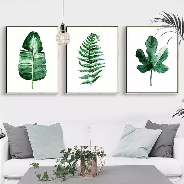 Verde moderno planta Tropical deja lona impresión del arte Poster nórdicos planta verde pared de la habitación de los niños gran pintura sin marco #deptodublin