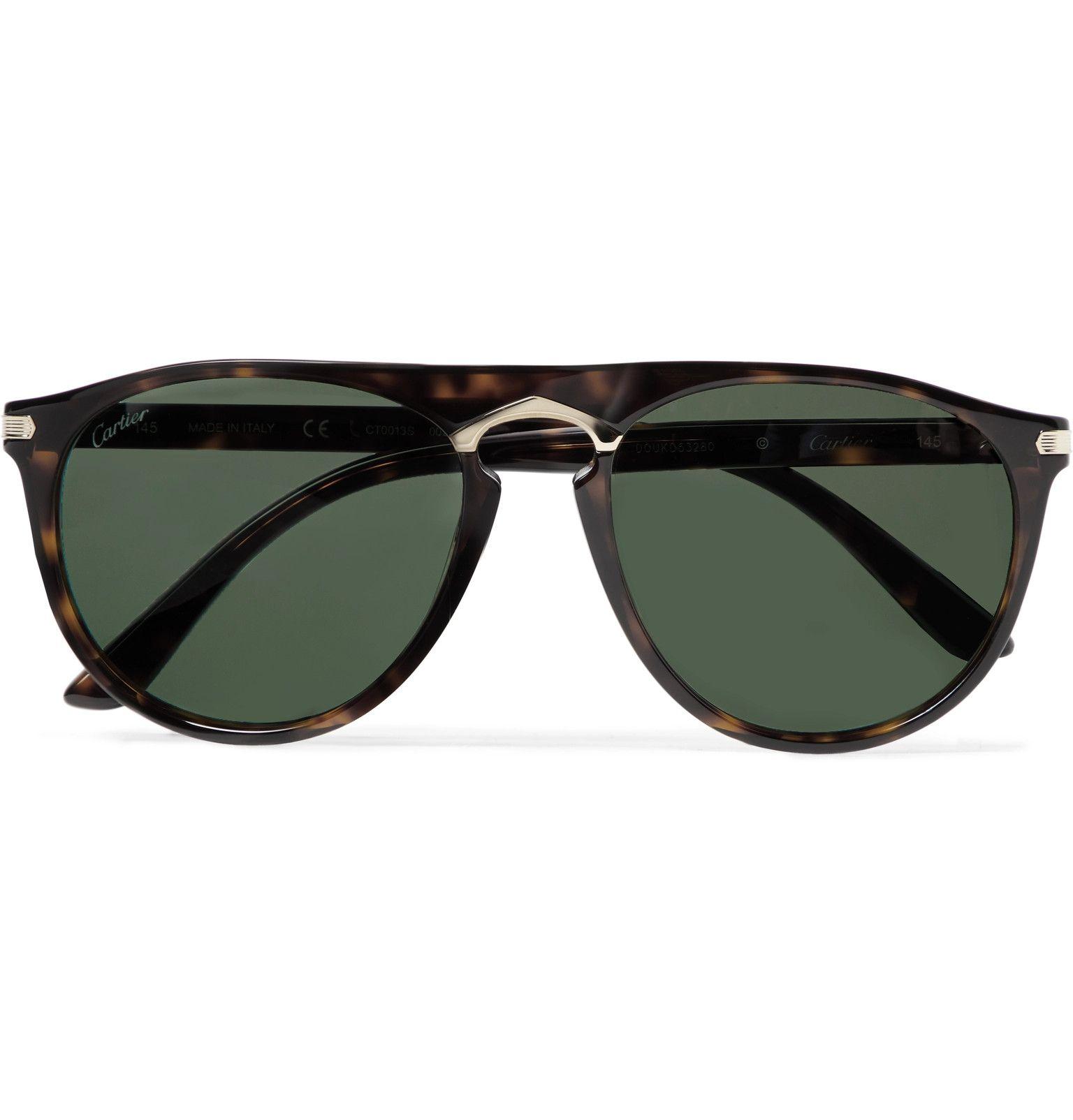 Tortoiseshell Aviator-Style Tortoiseshell Acetate and Gold-Tone Sunglasses   Cartier Eyewear
