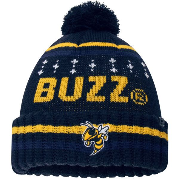 da1658cba7a Top of the World GA Tech Yellow Jackets Youth Navy Barometer Cuffed Knit Hat  With