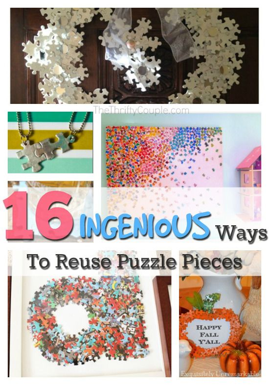 16 Ingenious Ways To Reuse Puzzle Pieces Don T Throw Them Away Puzzle Crafts Puzzle Piece Crafts Jigsaw Puzzle Crafts