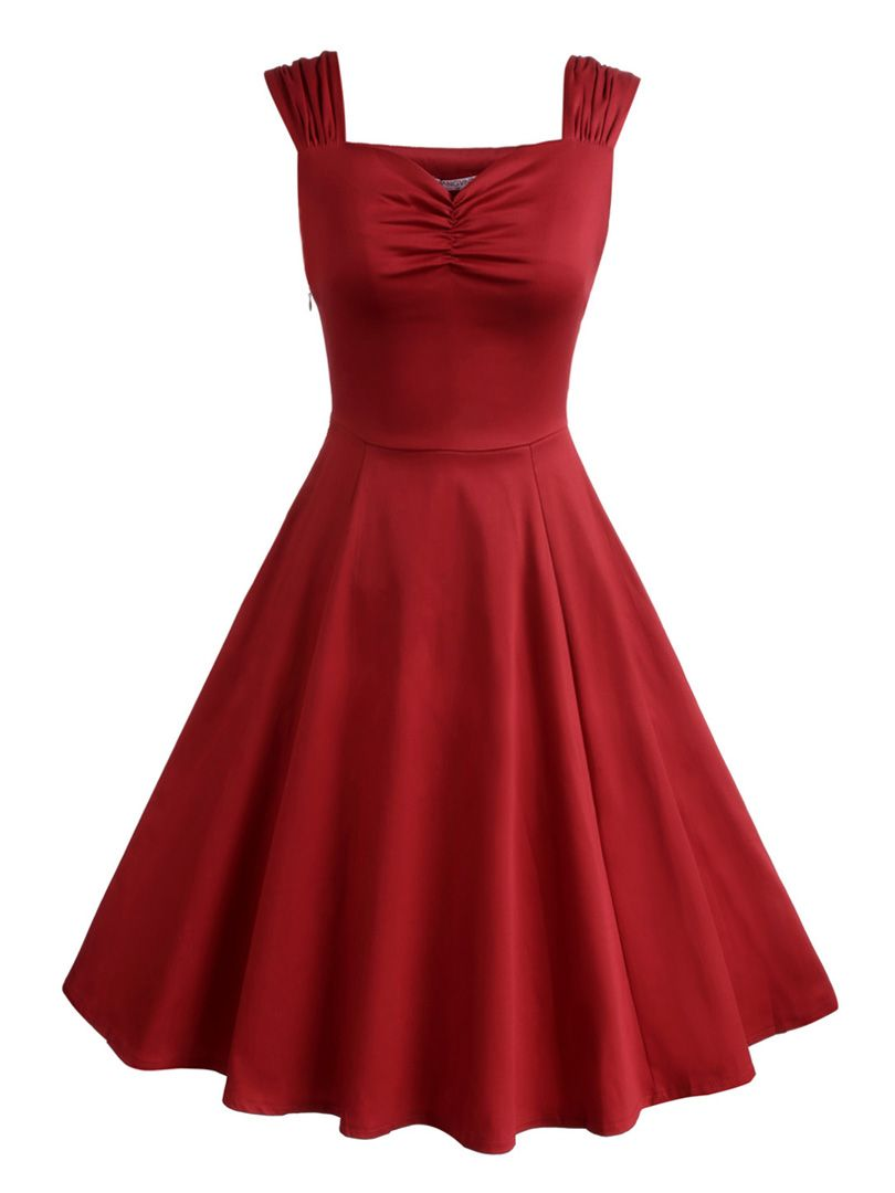 Dark red sweetheart ruched skater dress dresses medium