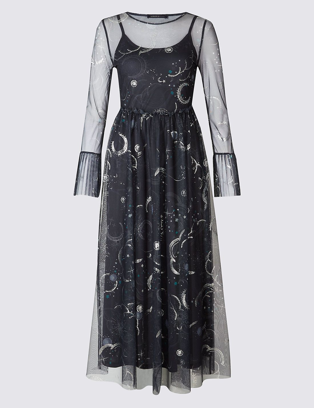 Printed Mesh Flared Sleeve Midi Dress | Marks & Spencer London | MY ...