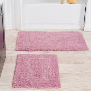 Windsor Home 100 Percent Cotton 2 Piece Reversible Rug Set White Reversible Multi Size Set Machine Wash Cotton In 2019 Bath Rugs Pink Bathroom Rugs Rugs