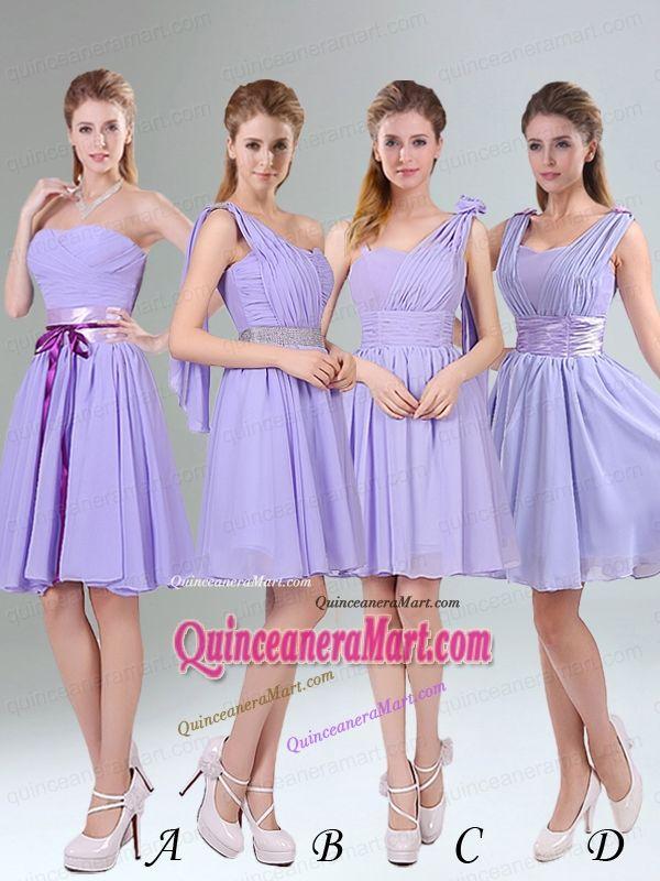 Classical Lavender Princess Mini Length Dama Dress with Ruching ...