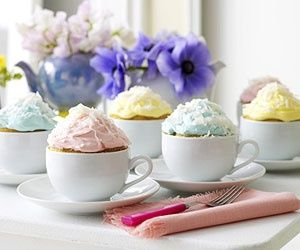 Cupcakes baked in teacups! princess-tea-party