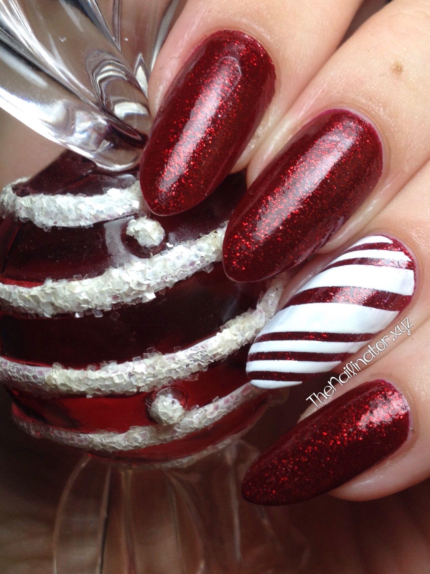 The Nailinator - Ruby Pumps Candy Cane Nail Art Tutorial | My nails ...