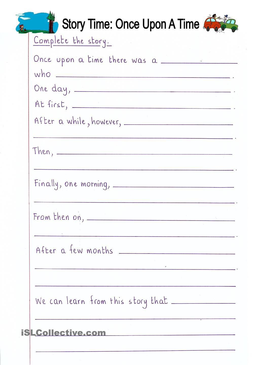 worksheet Esl Writing Worksheets read and complete once upon a time story writing daycare worksheet free esl printable worksheets made by teachers