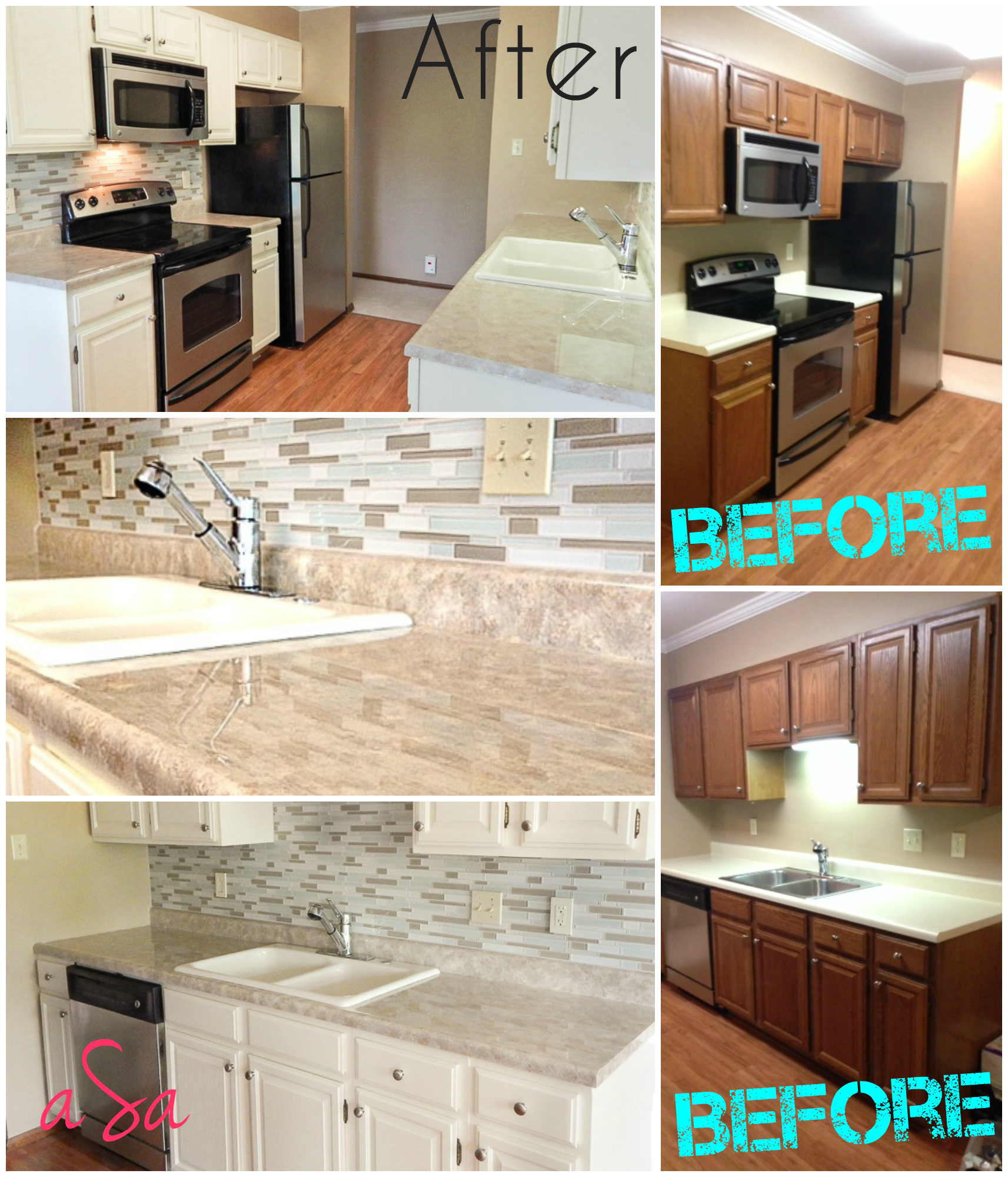 Before and after 300 kitchen transformation backsplash for Before and after pictures of painted laminate kitchen cabinets