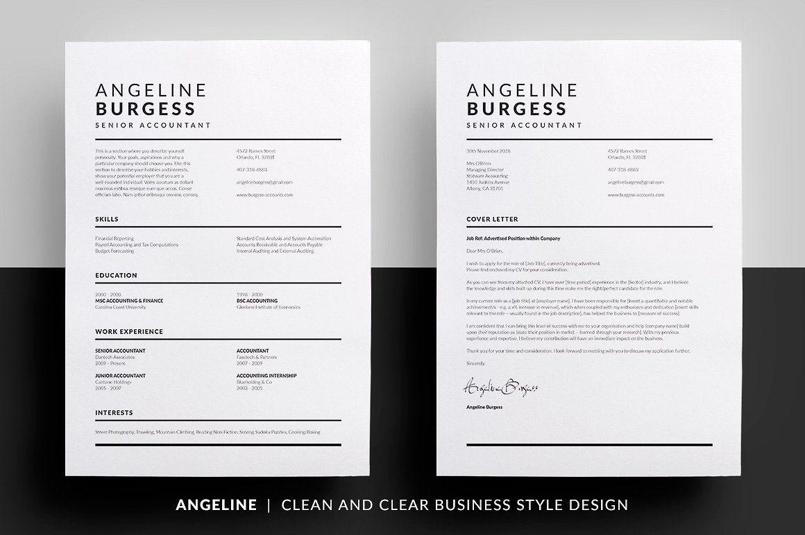 Essential Resume  Angeline By Bilmaw Creative On Creativemarket