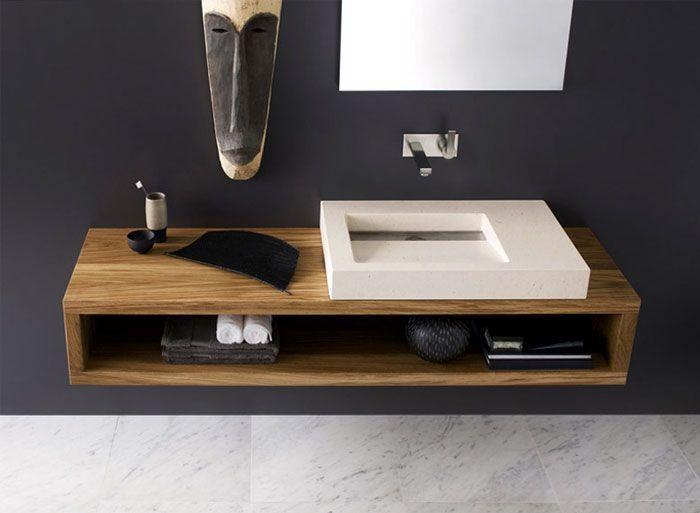 modern floating vanity rustic integrated sink design bathroom ideas